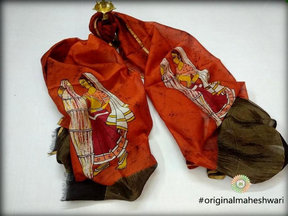 Maheshwari Orange Handpainted Batik print Dupatta
