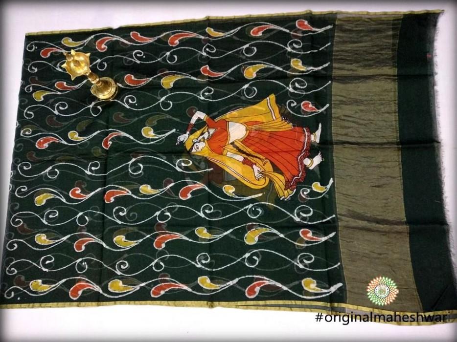 Maheshwari Rama Green Handpainted Batik print Dupatta