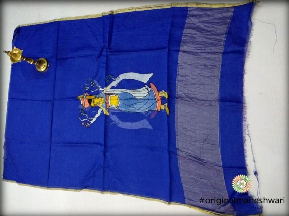 Maheshwari Blue Handpainted Dupatta