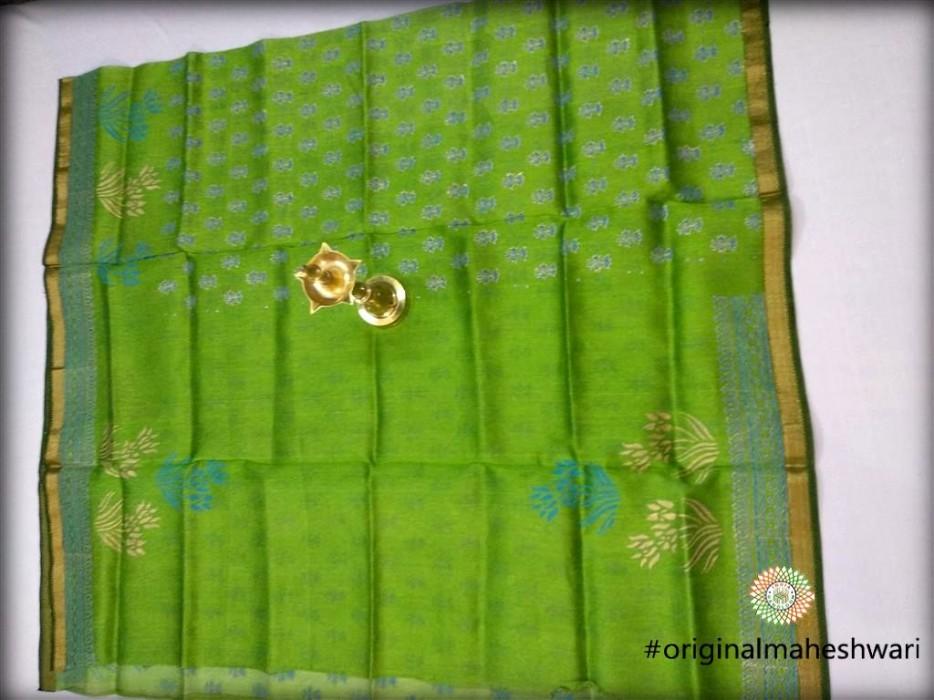 Maheshwari Green Printed Linen weaving  Kurti material