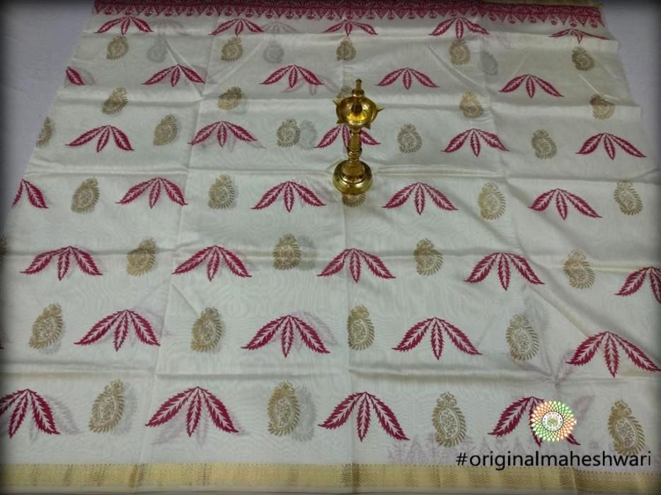 Maheshwari White Handblock Printed Kurti Material