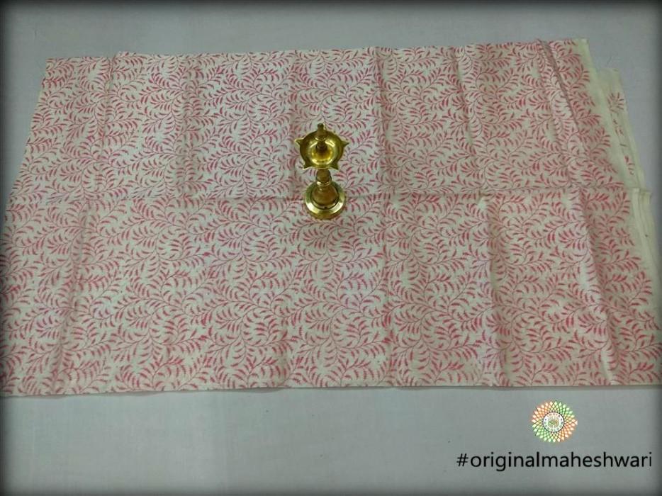 Maheshwari White Printed Kurti Material