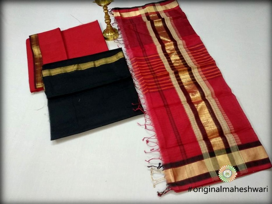Maheshwari Black Top,Red Bottom And Red Dupatta Material