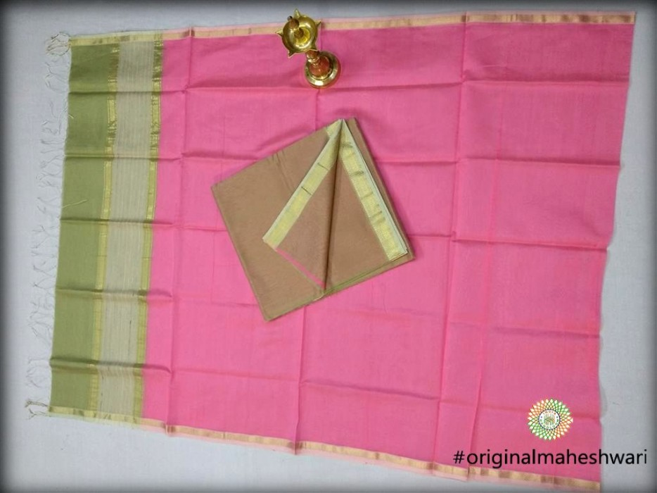 Maheshwari Pista Top ,peach Bottom And Pink Dupatta Material