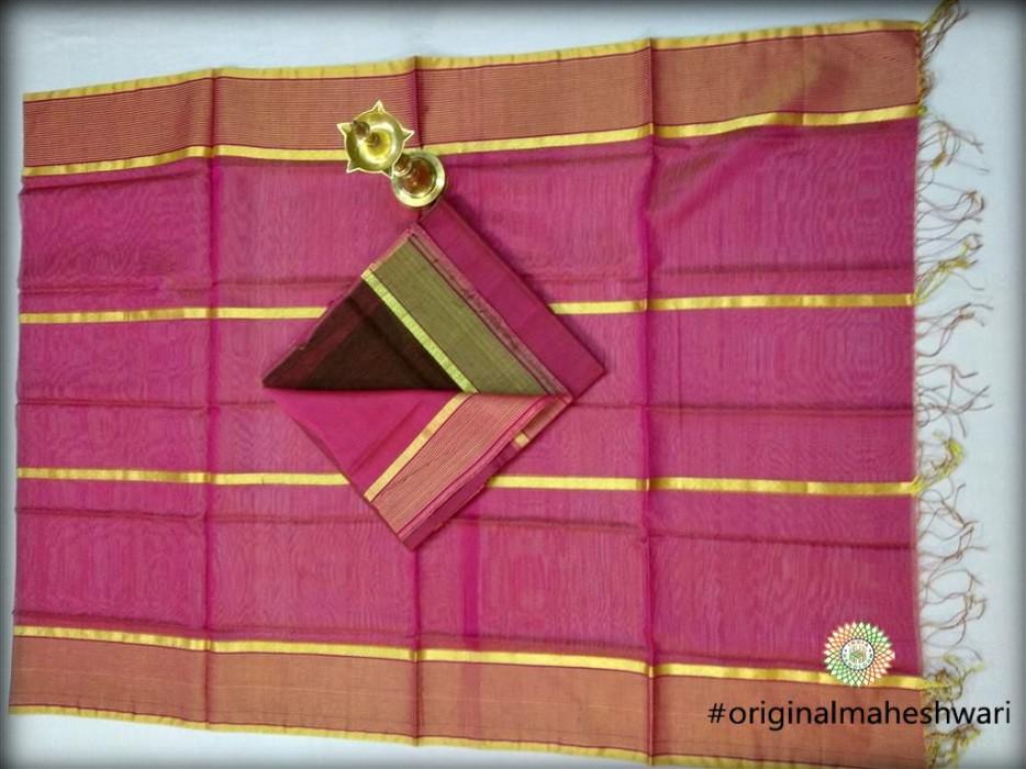 Maheshwari Pink Dress  Material