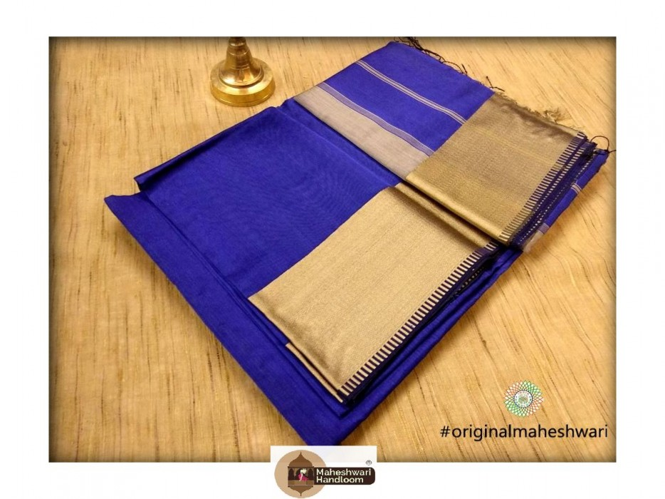 Maheshwari Blue Resham skirt Border saree