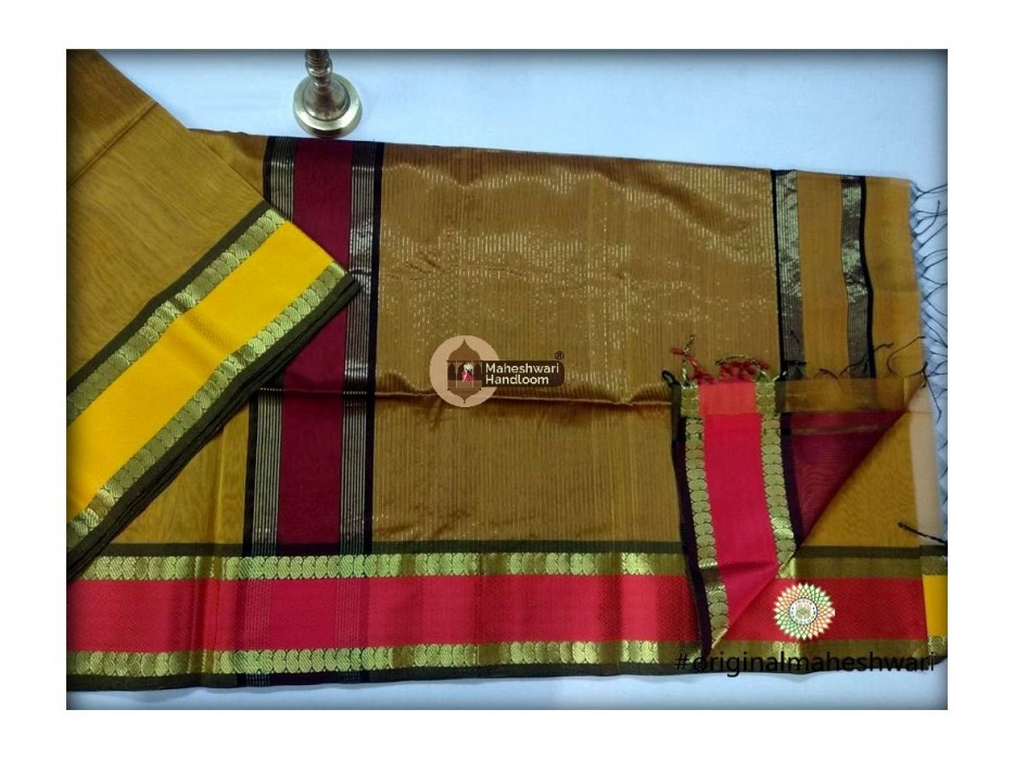 Maheshwari Mustard Yellow  Keri buti Border Saree