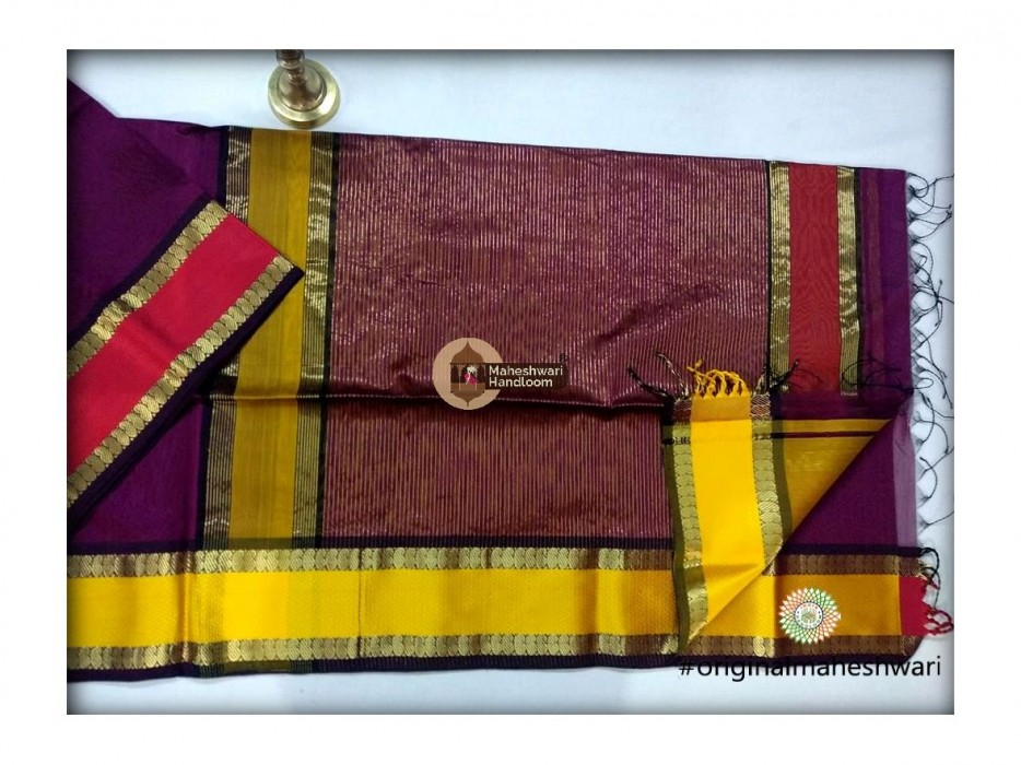 Maheshwari Purple  Keri buti Border Saree