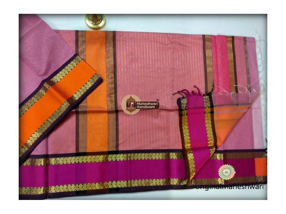 Maheshwari Light Pink Keri buti Border Saree