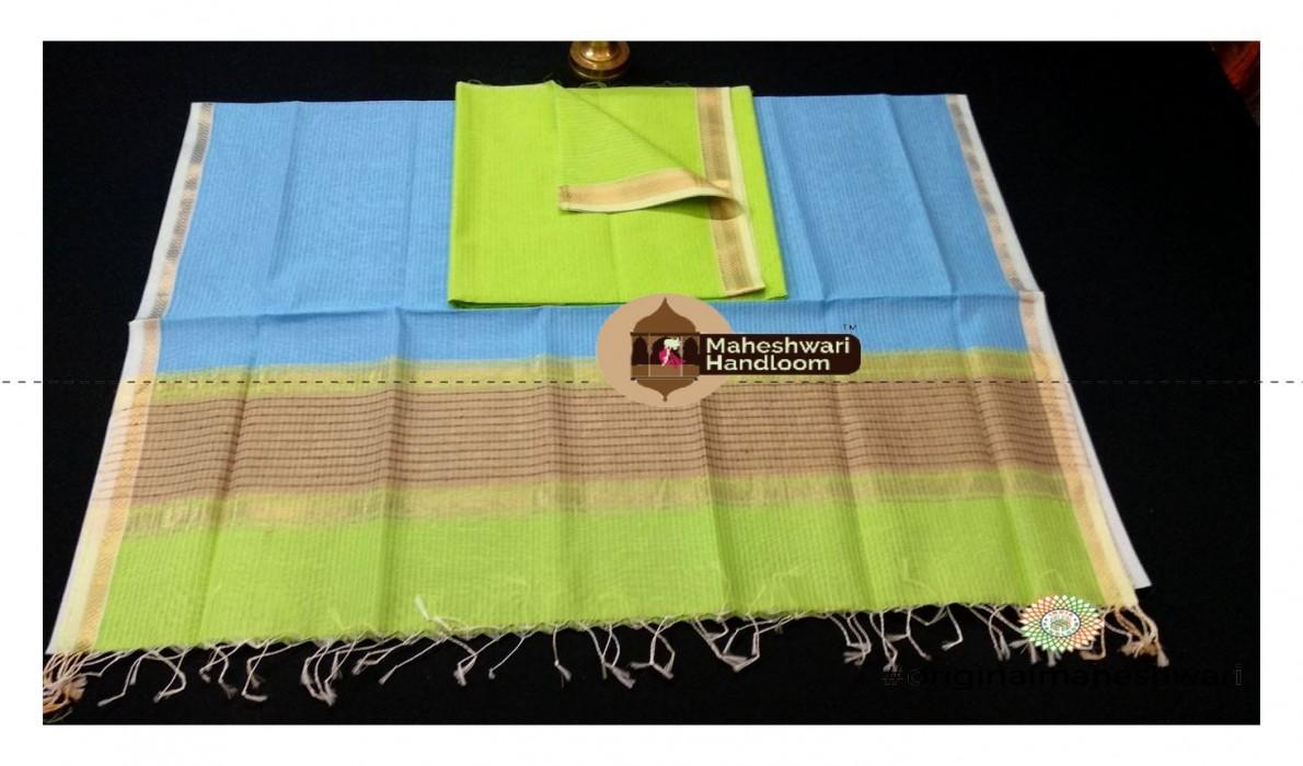Maheshwari Light Green - cyan With Kosa  Top  Dupatta