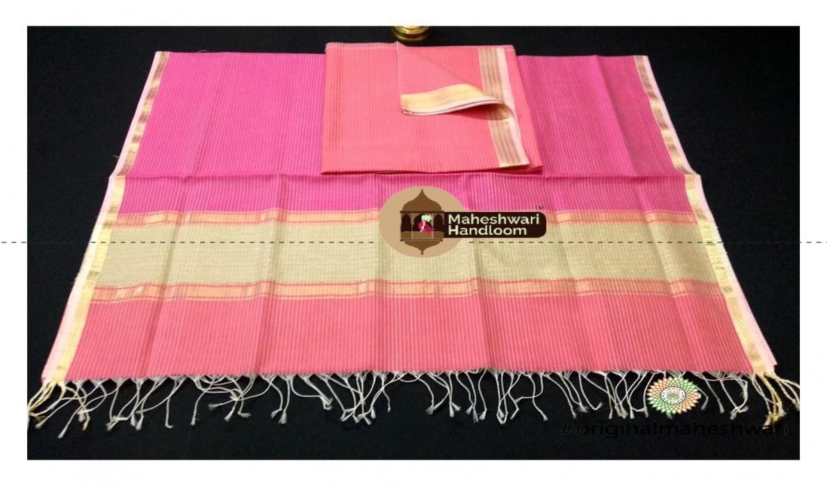 Maheshwari Watermilon  - Pink With Kosa  Top  Dupatta