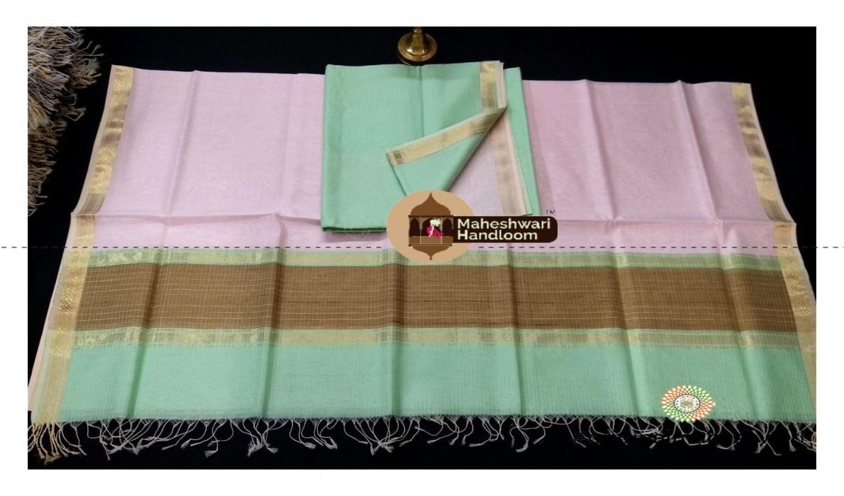 Maheshwari Pista-Rose Pink Blue Dress  Material