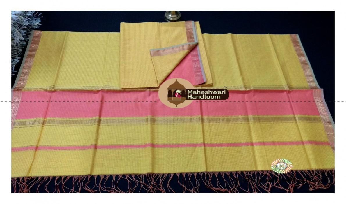 Maheshwari Light Pink-Mehandi Green  Dress  Material
