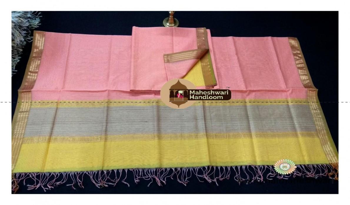 Maheshwari Light Yellow-Rose Pink Dress  Material