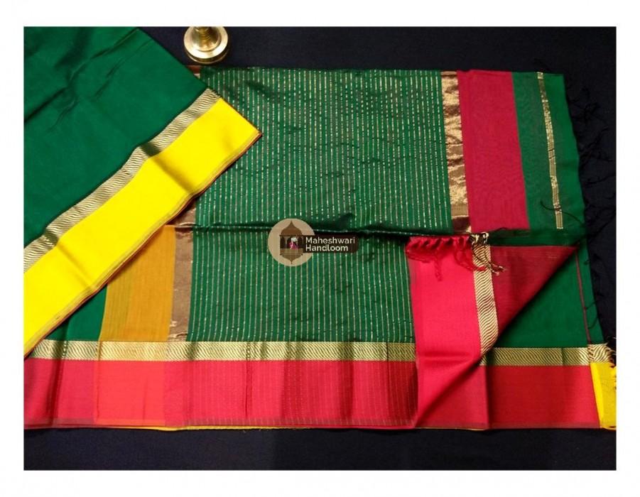 Maheshwari Chutney Green Ganga Jamuna saree