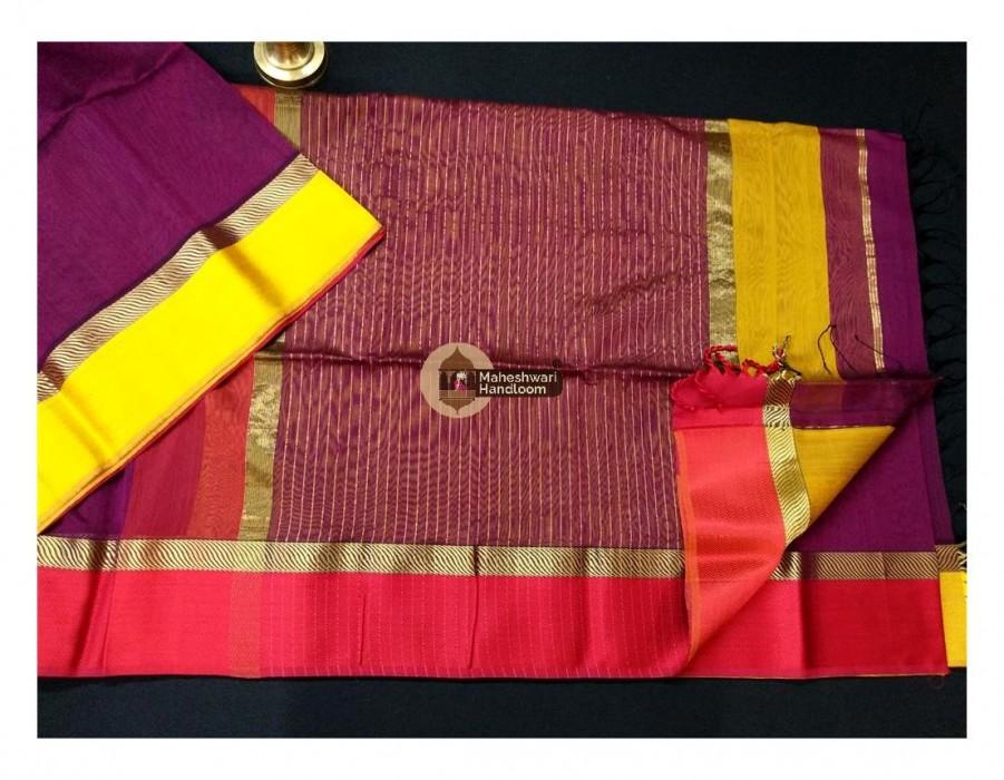 Maheshwari Purple Ganga Jamuna saree