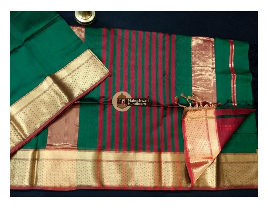 Maheshwari Dark Green Jari Border Saree