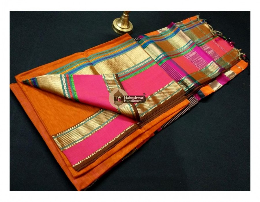 Maheshwari Orange Double Resham Border Saree