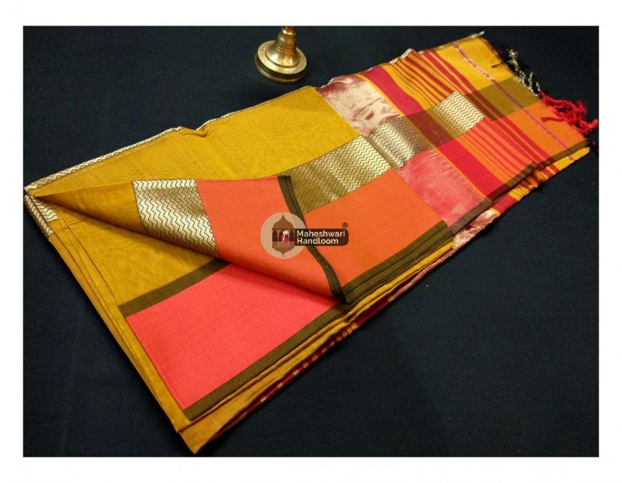 Maheshwari Dark Yellow Double Water wave Jari Border Saree