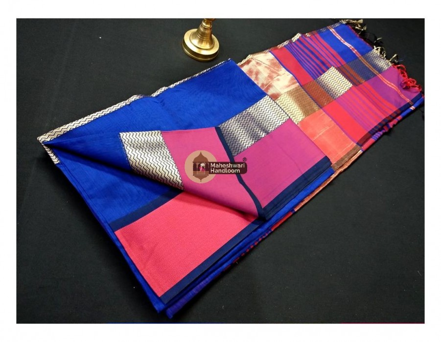 Maheshwari Royal Blue Water Wave Jari Border Saree