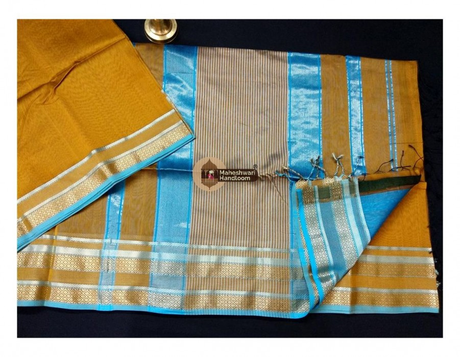 Maheshwari Rust Jari Border Saree