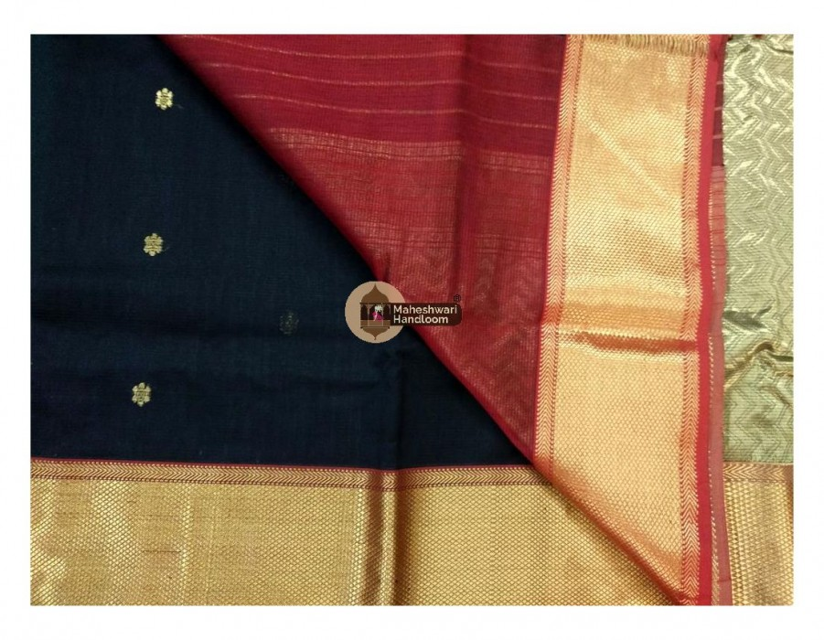 Maheshwari Black Bootie Weave Heavy Jari Pallu Saree