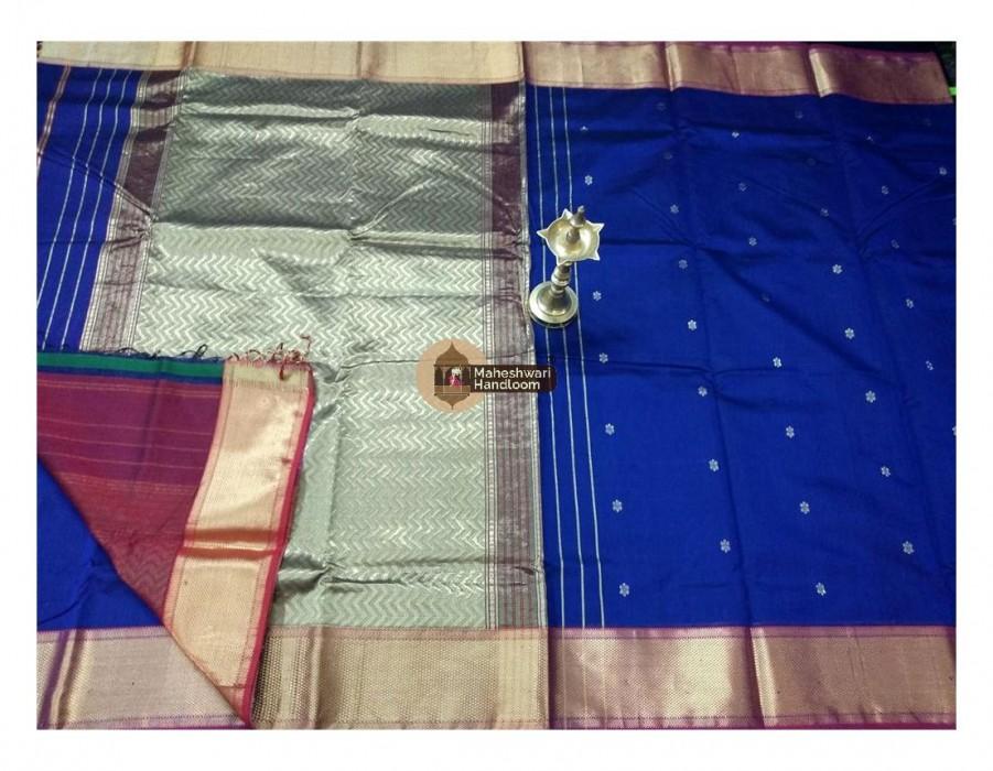 Maheshwari Royal Blue Bootie Weave Heavy  Jari Pallu Saree