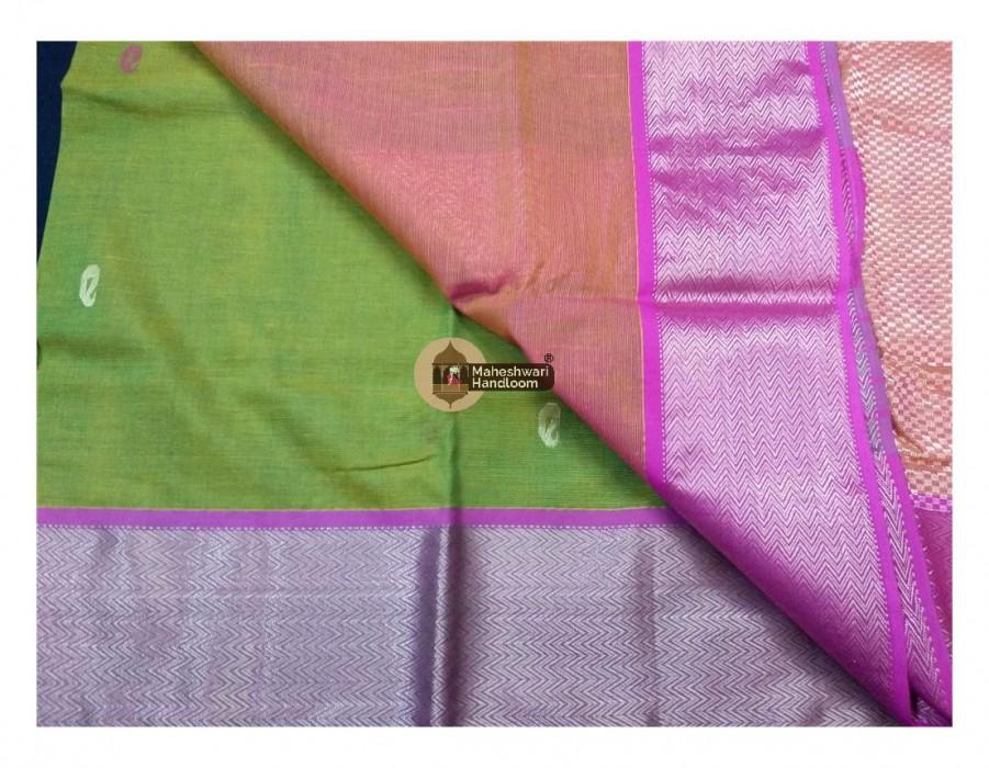 Maheshwari Green Bootie Weave Heavy Jari Pallu
