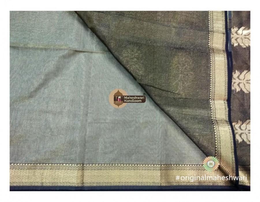 Maheshwari Tussar Tissue Buta Pallu Weaving Saree