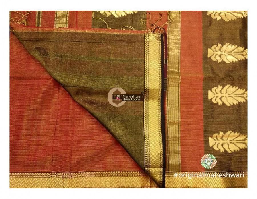 Maheshwari Red Buta Pallu Weaving Saree