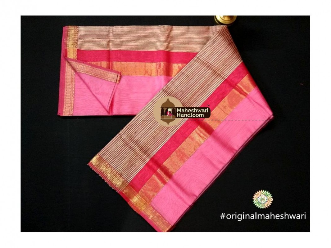 Maheshwari Light Pink Gicha Pallu Saree