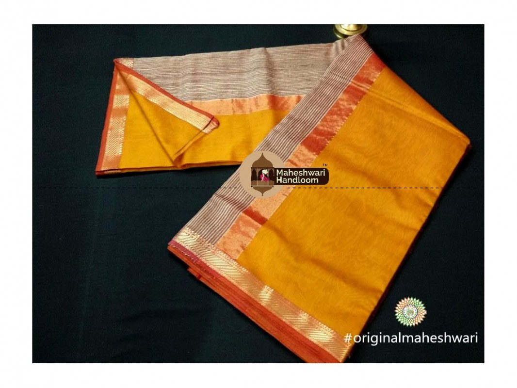 Maheshwari Dark Yellow Gicha Pallu Saree