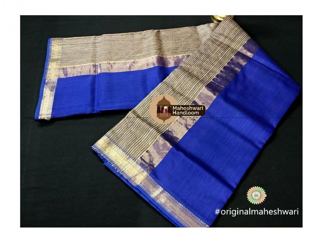 Maheshwari Navy Blue Gicha Pallu Saree