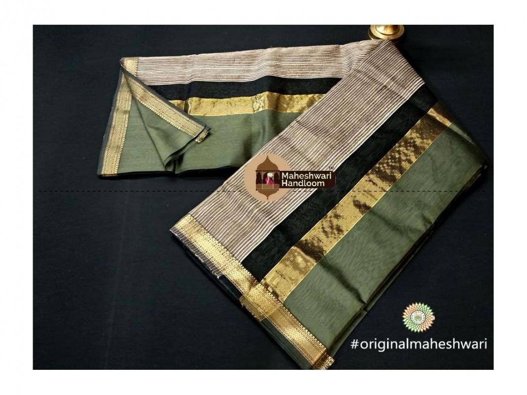 Maheshwari  Dark Pista Green Gicha Pallu Saree