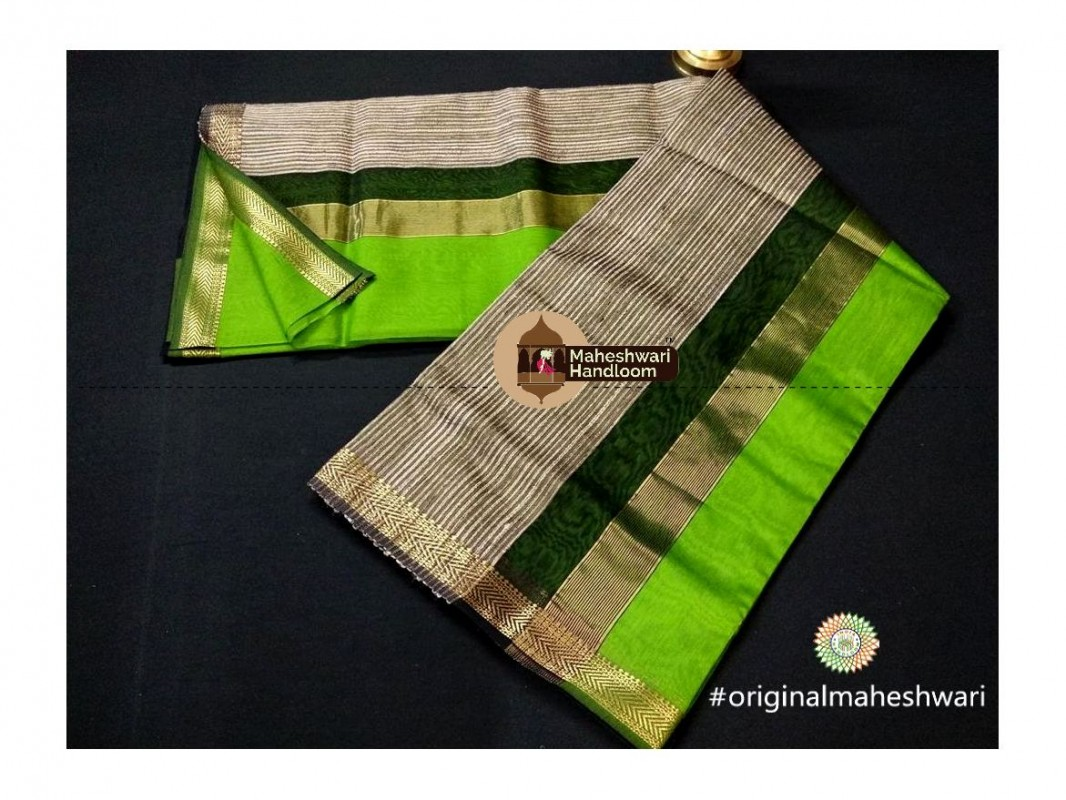 Maheshwari Light green Gicha Pallu Saree