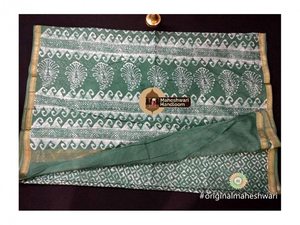 Maheshwari Pista Green Batik Print Saree