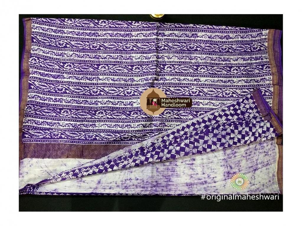 Maheshwari Purple Batik Print Saree