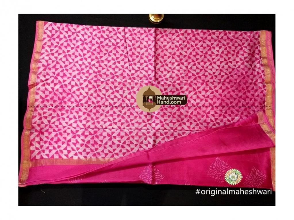 Maheshwari Pink Batik Print Saree