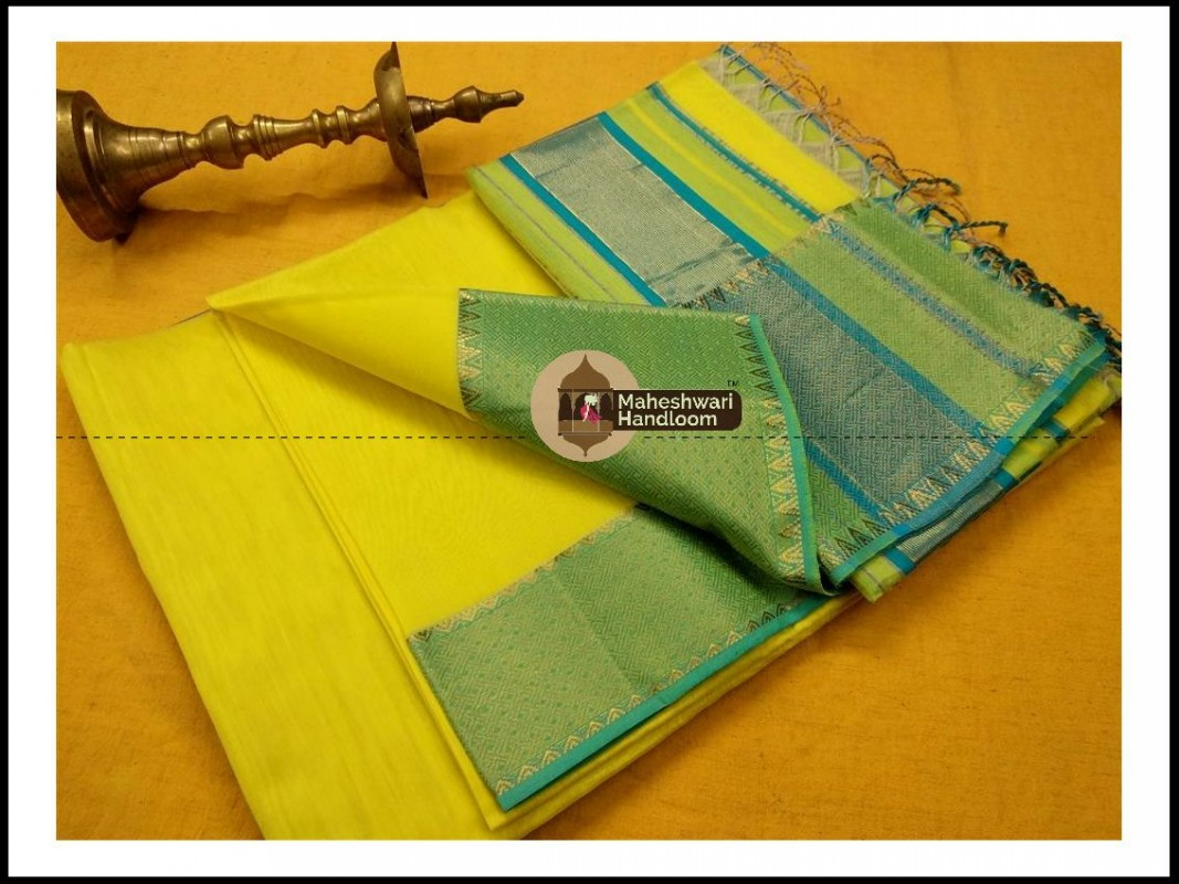 Maheshwari Light Yellow Jari skirt Temple Border saree