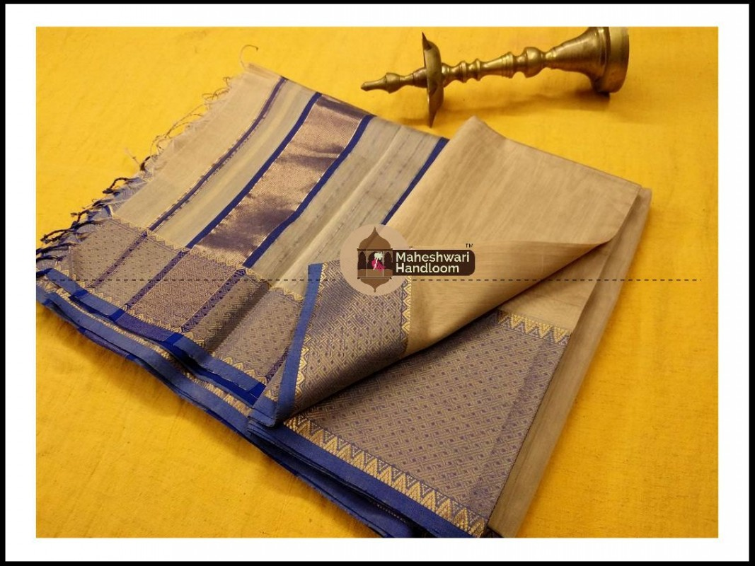 Maheshwari Grey Jari skirt Temple Border saree