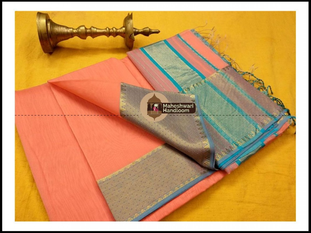 Maheshwari Peach Jari skirt Temple Border saree