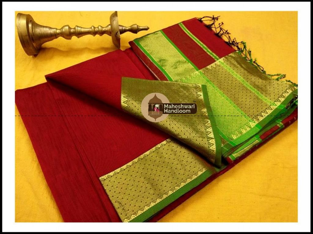 Maheshwari Maroon Red Jari skirt Temple Border saree