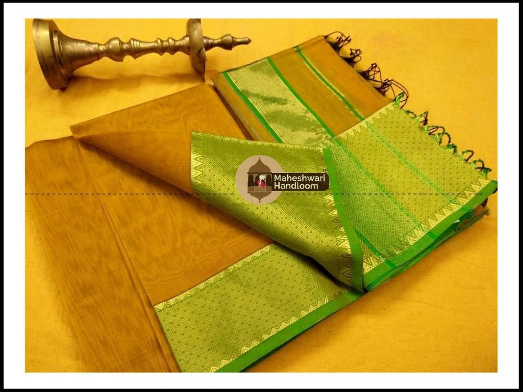 Maheshwari Mustard Yellow Jari skirt Temple Border saree
