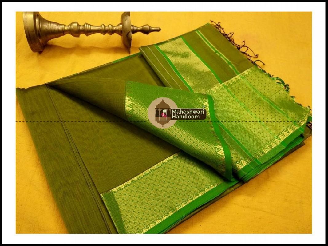 Maheshwari Mehandi Green Jari skirt Temple Border saree