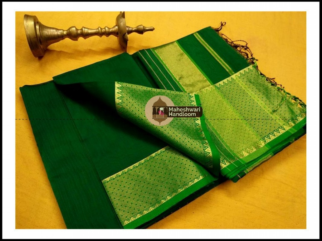 Maheshwari Chutney Green Jari skirt Temple Border saree