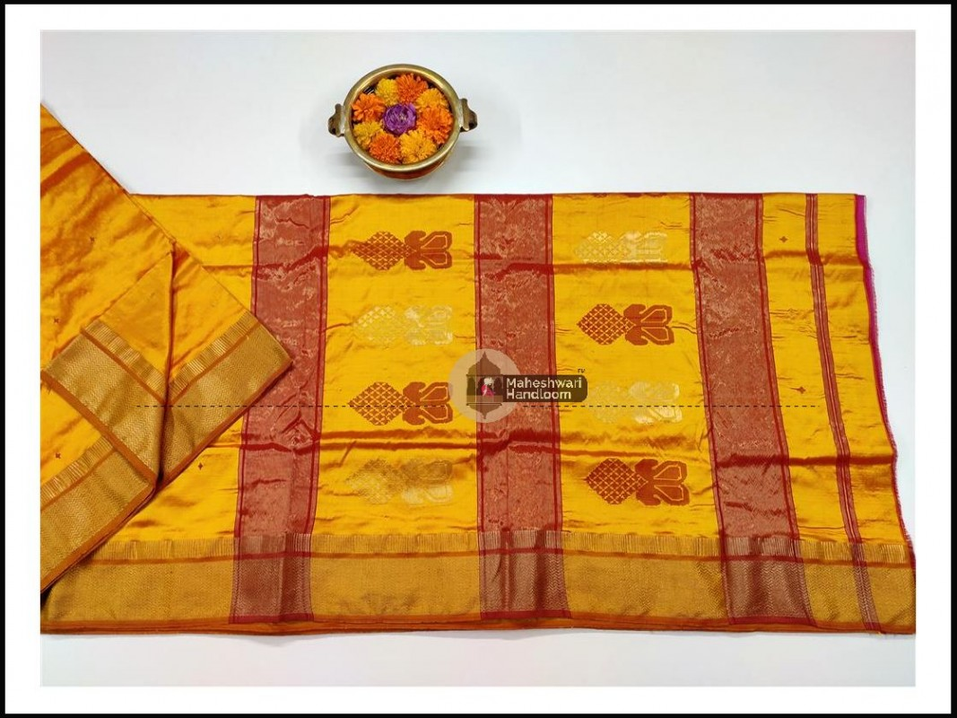 Maheshwari Yellow Pure Silk Saree With Buta Buti Weaving