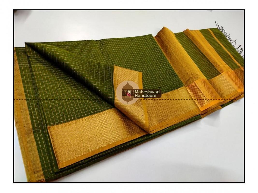 Maheshwari  Green Jari Checkered Weaving Saree