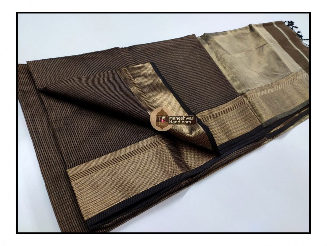 Maheshwari Chocolate Brown  Checks Fabric Saree