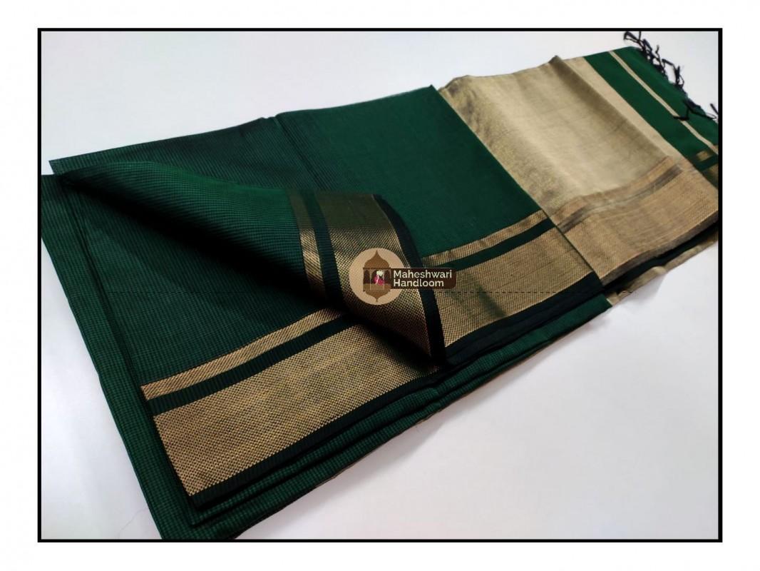 Maheshwari Chutney Green  Checks Fabric Saree