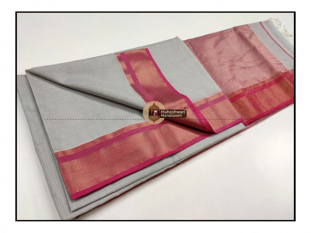 Maheshwari Grey Checks Fabric Saree
